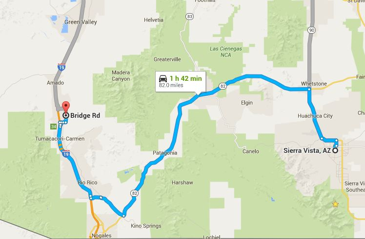 Map or route from Sierra Vista to Tubac Arizona.