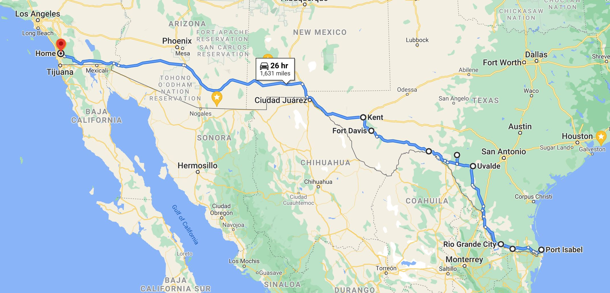 Map - Texas to Poway